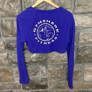Gymshark Legacy Fitness Long Sleeve 100% Cotton Cobalt Blue Crop Top, Size Small